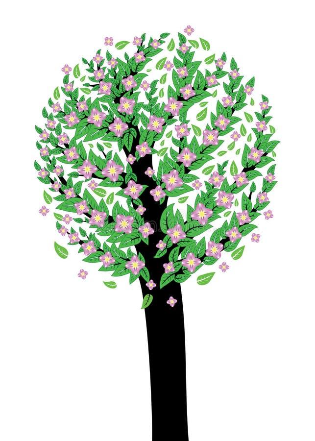 Árvore com flor cor-de-rosa ilustração stock