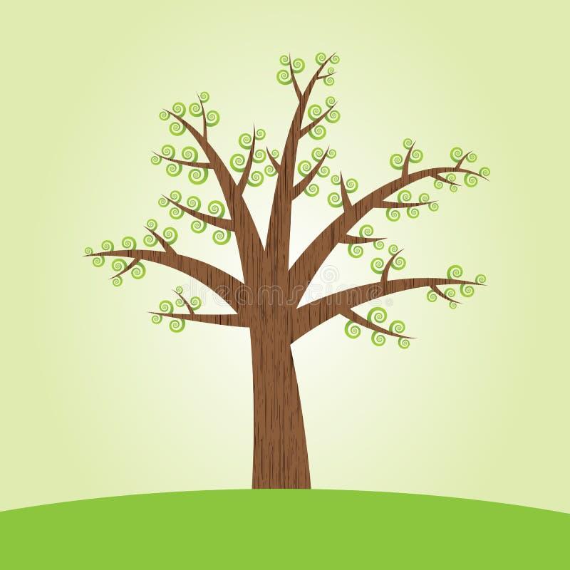 Árvore com folhas espirais ilustração stock
