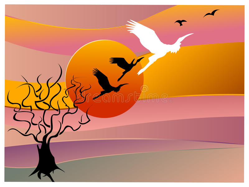 Árvore com fundo dos pássaros ilustração do vetor