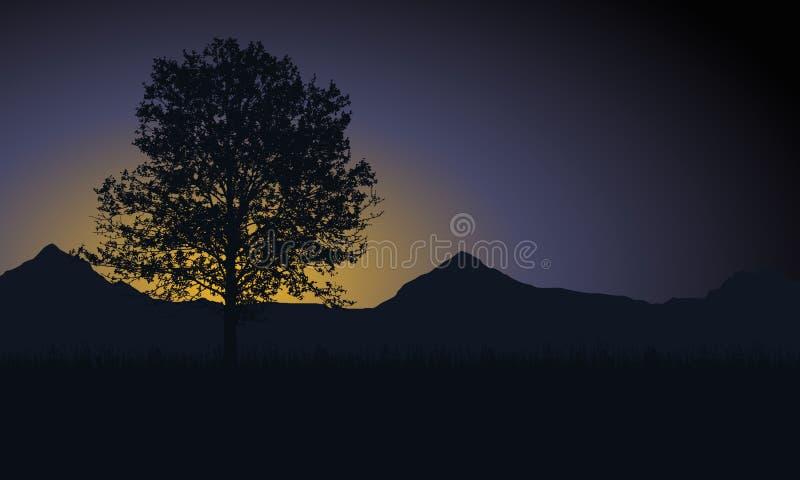 Árvore com grama e montanhas no fundo sob o mornin ilustração do vetor