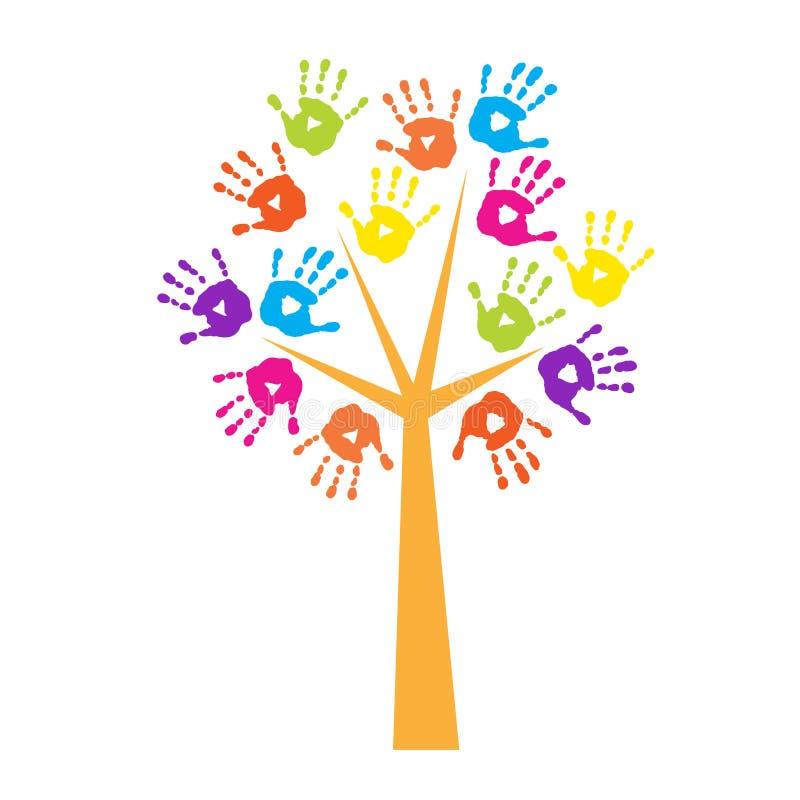 Árvore com handprints em vez das folhas ilustração stock