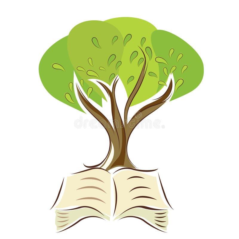 Árvore com livro ilustração stock