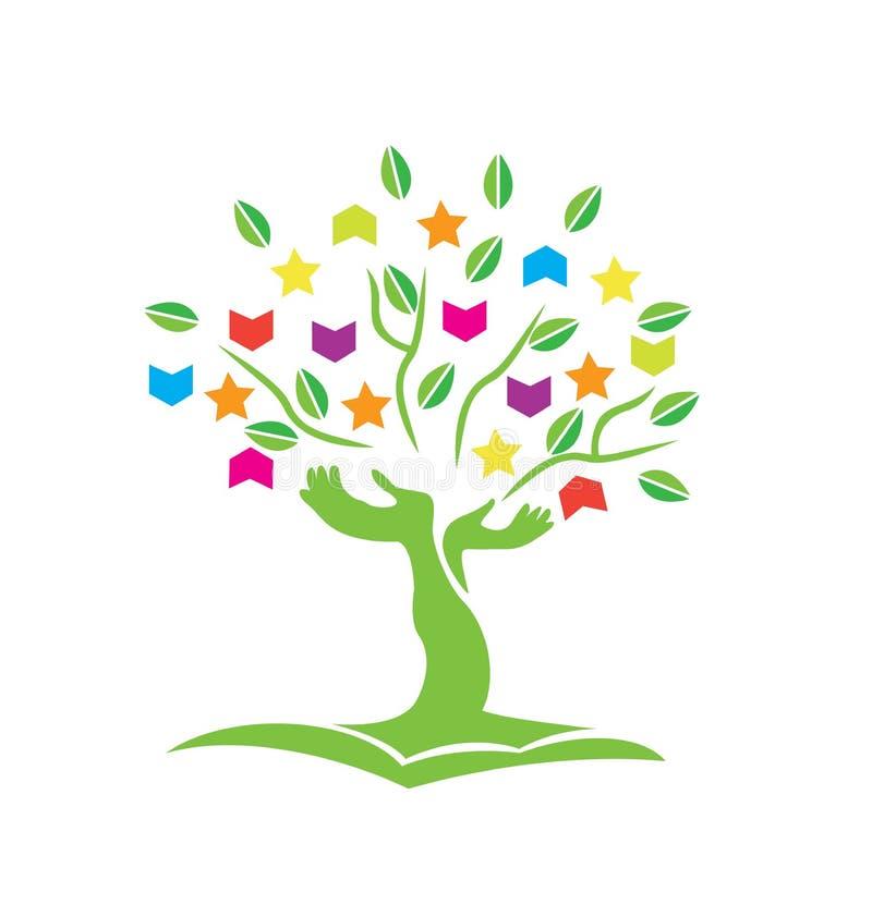 Árvore com logotipo dos livros e das estrelas das mãos ilustração royalty free
