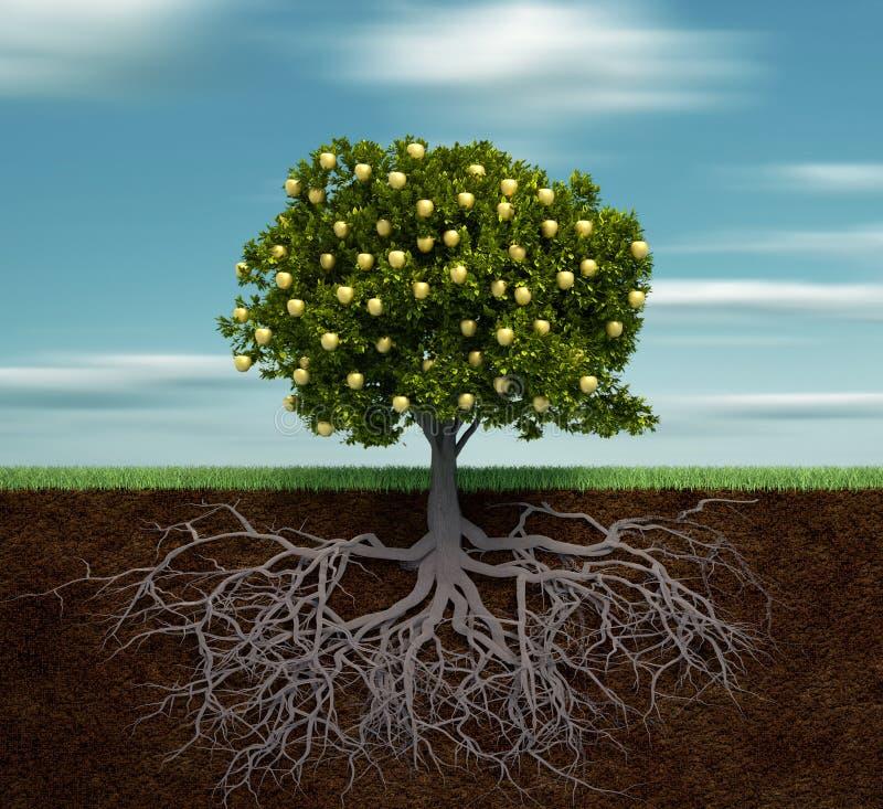 Árvore com maçã dourada ilustração stock