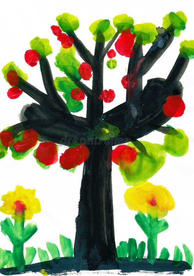 Árvore com maçãs, pintura da aguarela ilustração do vetor
