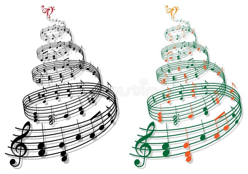 Árvore com notas da música, vetor ilustração stock
