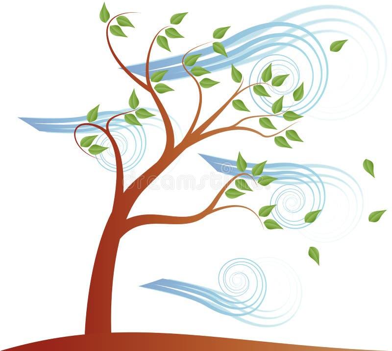 Árvore com nuvem e vento do efeito ilustração stock