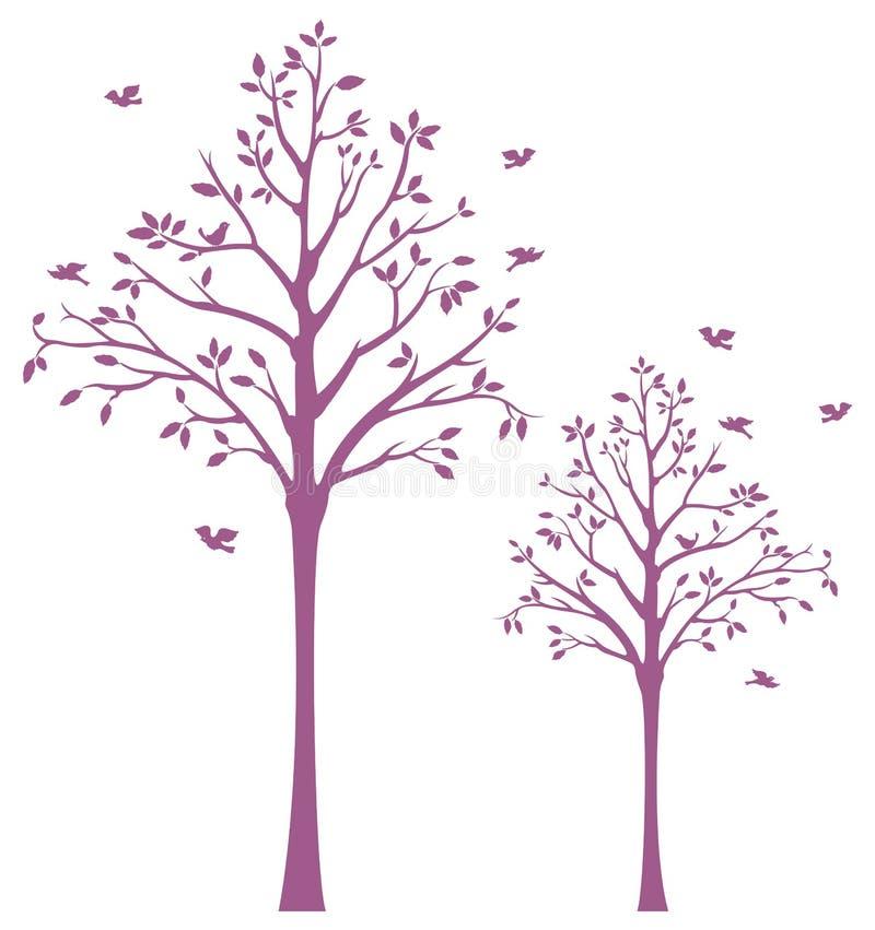 Árvore com o decalque da parede dos pássaros ilustração royalty free