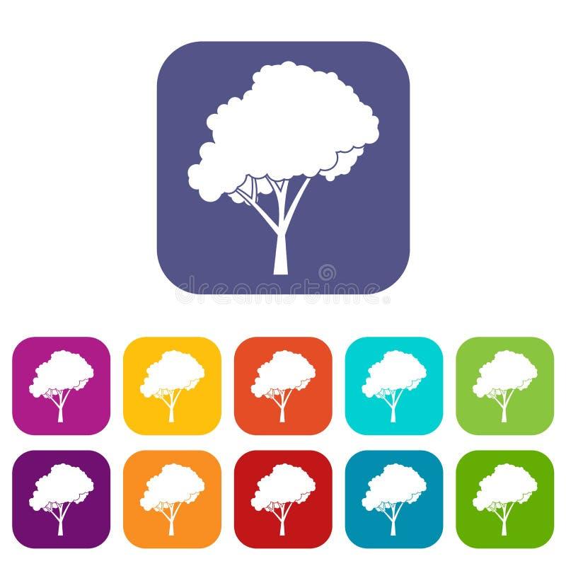 Árvore com os ícones arredondados de uma coroa ajustados ilustração do vetor