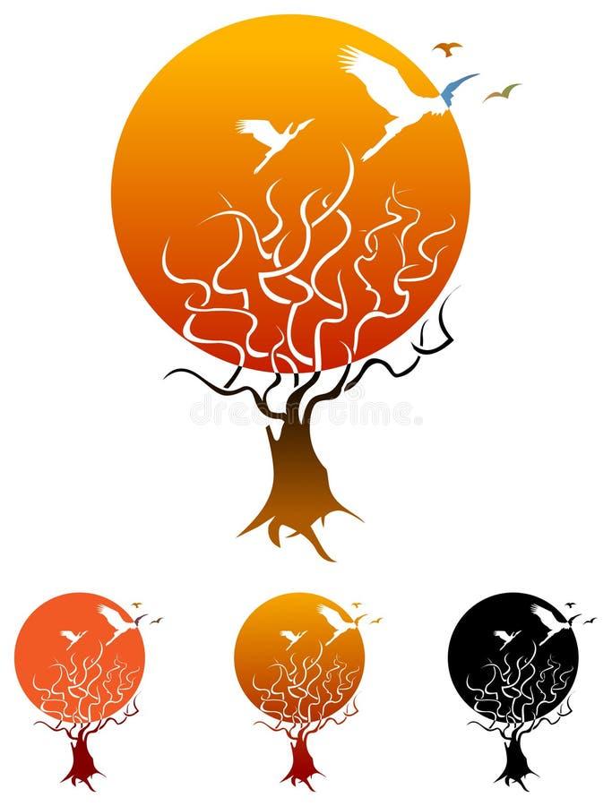 Árvore com pássaros ilustração stock