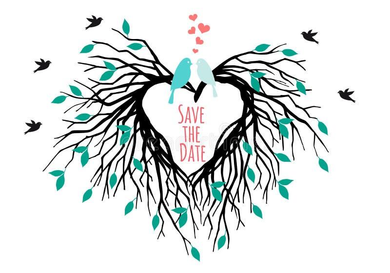 Árvore com pássaros, vetor do casamento do coração ilustração royalty free