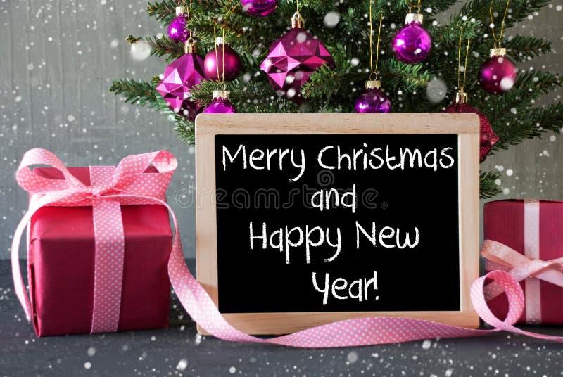 Download Árvore Com Presentes, Flocos De Neve, Ano Novo Feliz Do Feliz Natal Do Texto Foto de Stock - Imagem de árvore, decoração: 80102734