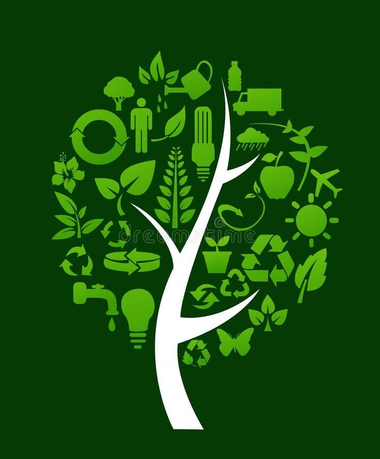 A árvore com recicla símbolos ilustração royalty free