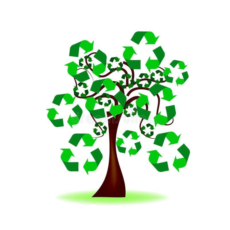 Árvore com reciclagem do ícone ilustração do vetor