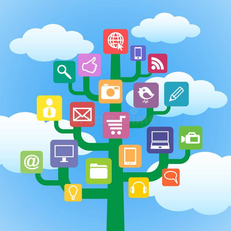 Árvore com símbolos dos dispositivos e do computador dos ícones. ilustração do vetor