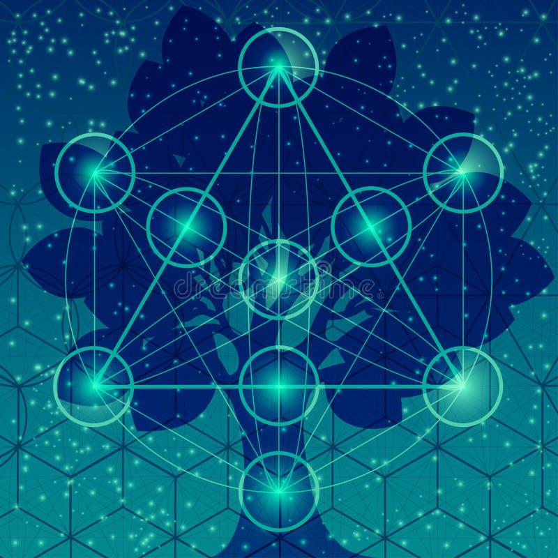 Árvore com símbolos sagrados e elementos da geometria ilustração royalty free