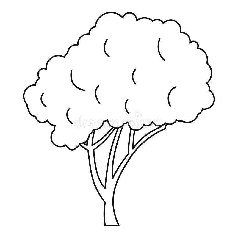 Árvore com um ícone arredondado da coroa, estilo do esboço ilustração stock