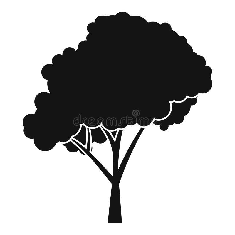 Árvore com um ícone arredondado da coroa, estilo simples ilustração stock