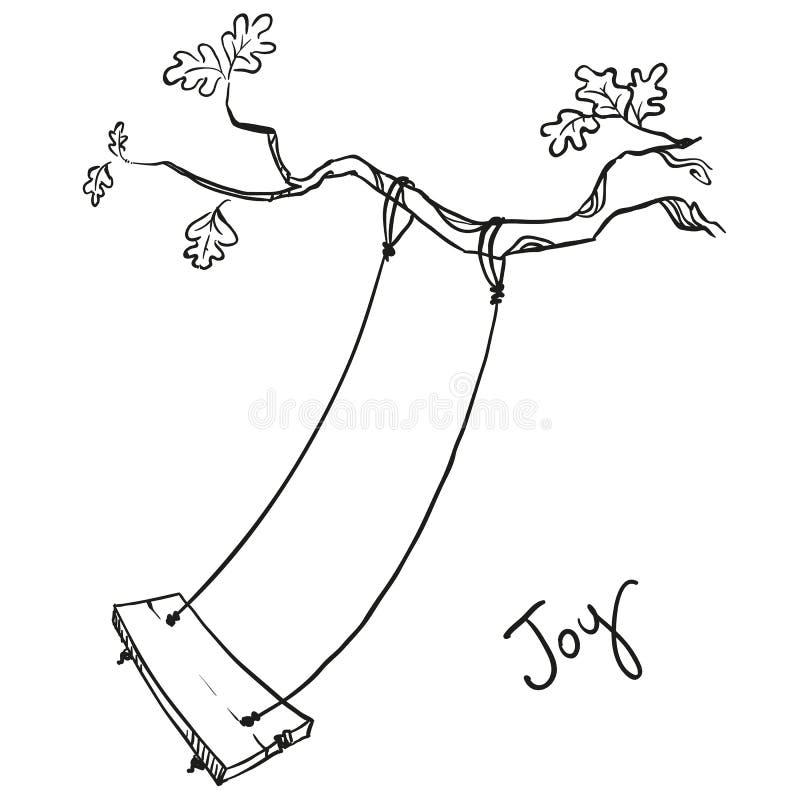 Árvore com um balanço ilustração stock