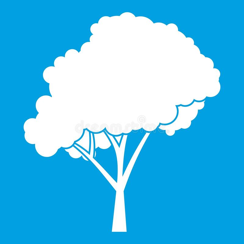 Árvore com um branco arredondado do ícone da coroa ilustração royalty free