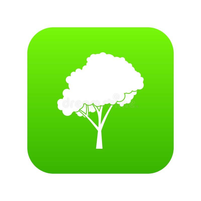 Árvore com um verde digital arredondado do ícone da coroa ilustração royalty free