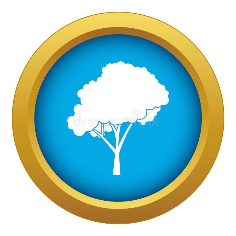 Árvore com um vetor azul arredondado do ícone da coroa isolada ilustração stock