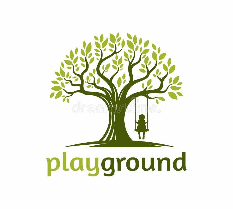 Árvore com uma brincadeira o balanço sob a ilustração do logotipo da árvore ilustração stock