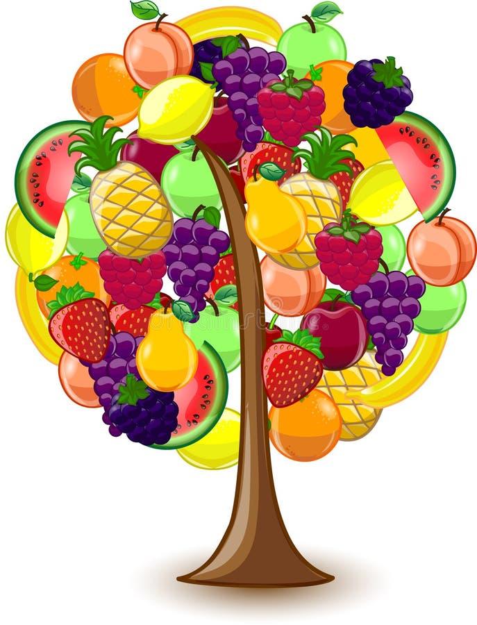 Árvore com uma variedade de frutas ilustração do vetor