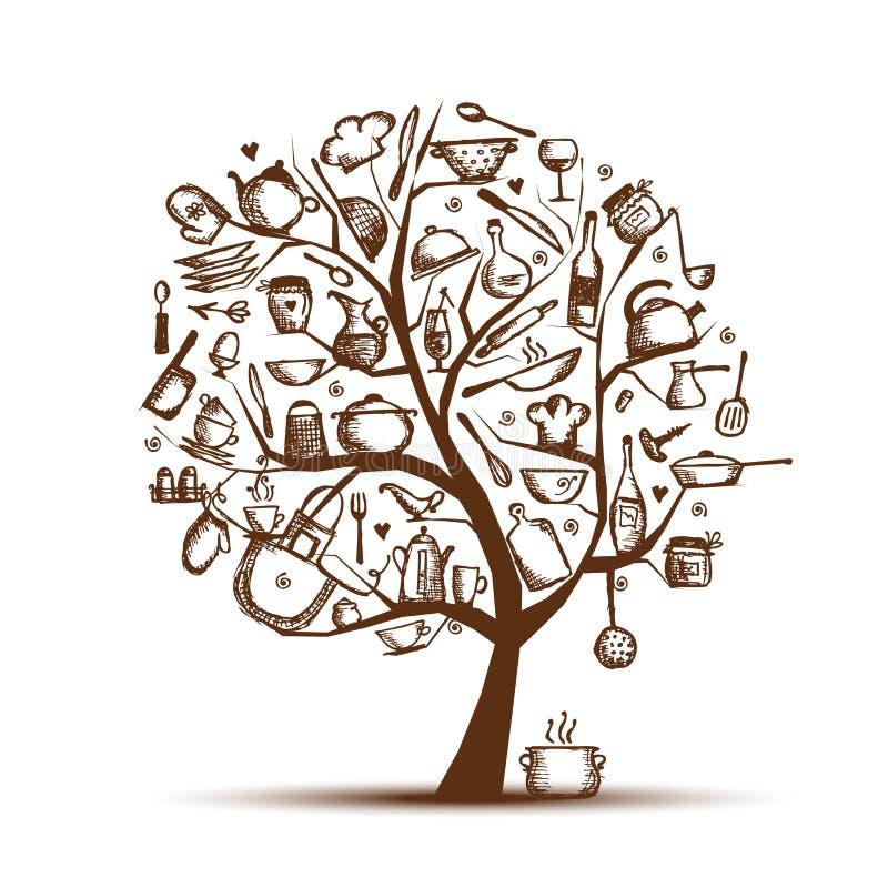Árvore com utensílios da cozinha, desenho da arte de esboço ilustração royalty free