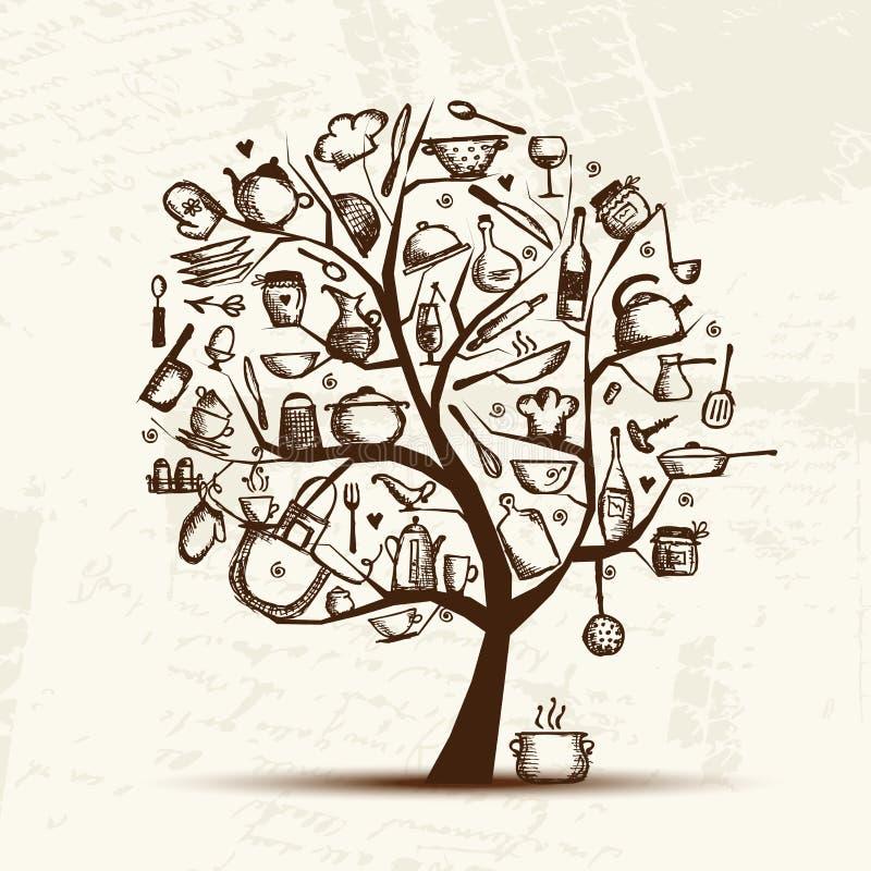 Árvore com utensílios da cozinha, desenho da arte de esboço ilustração stock