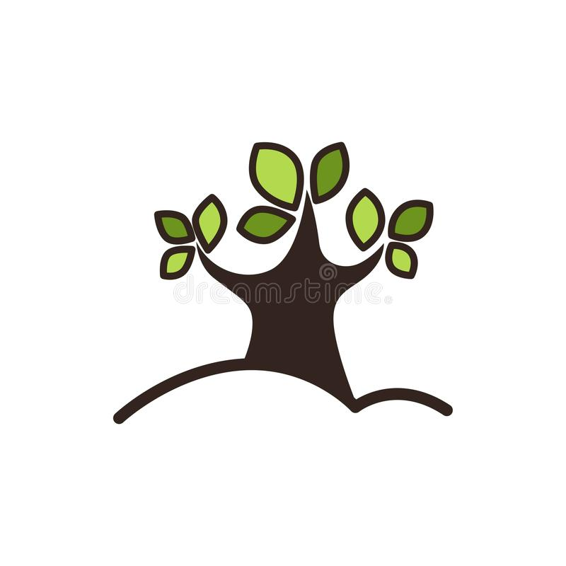 A árvore com verde deixa o ícone gráfico do close-up isolado no branco ilustração stock