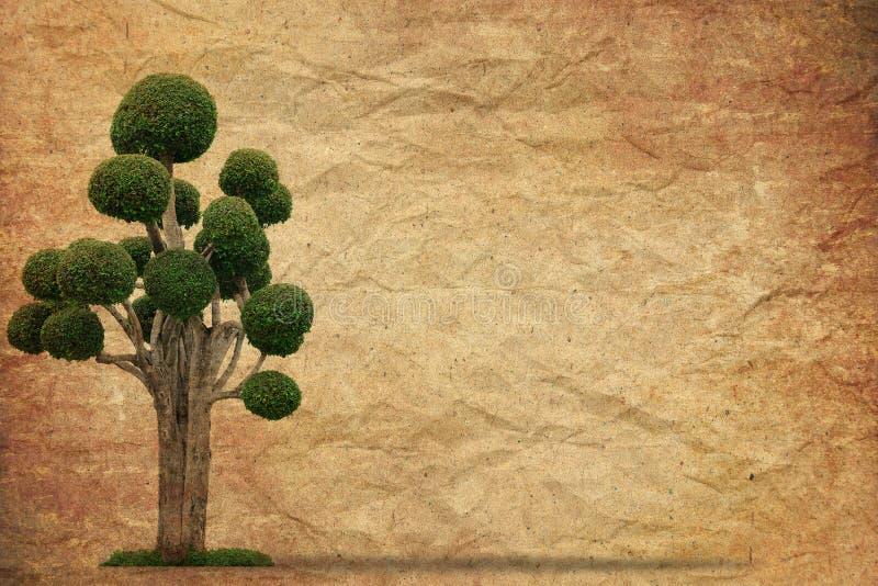 Árvore com vintage velho do papel do grunge fotos de stock royalty free