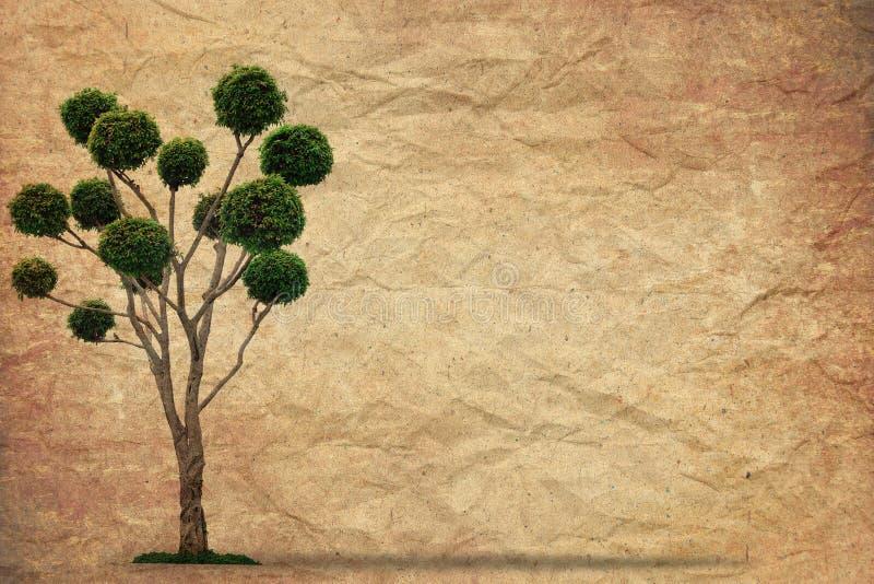 Árvore com vintage velho do papel do grunge fotografia de stock royalty free