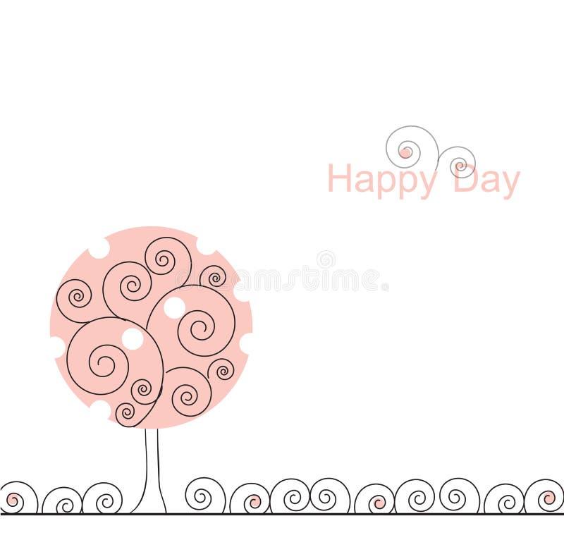 Árvore cor-de-rosa de ondulação ilustração stock