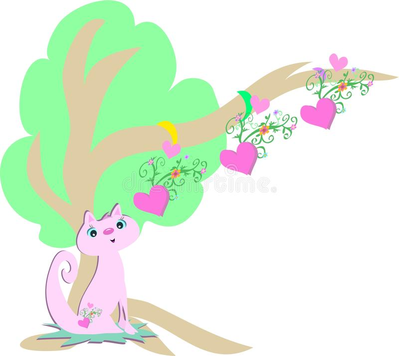 Árvore cor-de-rosa do gato e dos corações ilustração do vetor