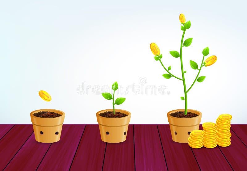 Árvore crescente do dinheiro Conceito bem sucedido do crescimento da economia do negócio ilustração do vetor