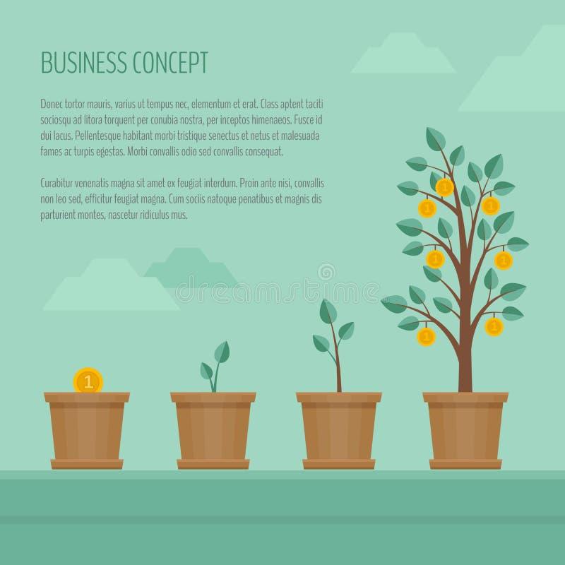 Árvore crescente do dinheiro Conceito do negócio Conceptual financeiro Image Chiqueiro liso ilustração royalty free