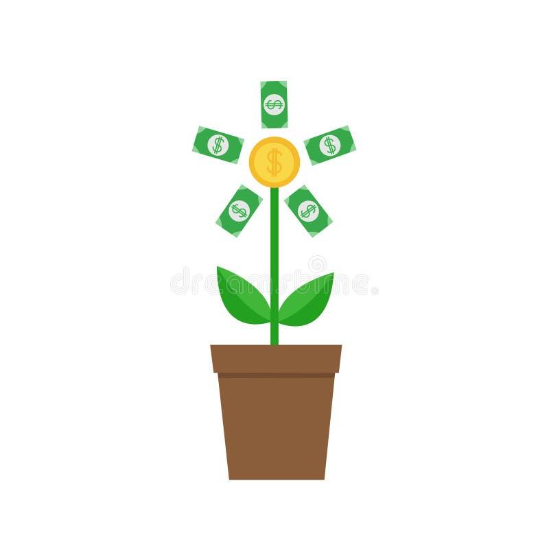 A árvore crescente do papel moeda inventa com a planta do sinal de dólar no potenciômetro Conceito financeiro do crescimento Ícon ilustração stock
