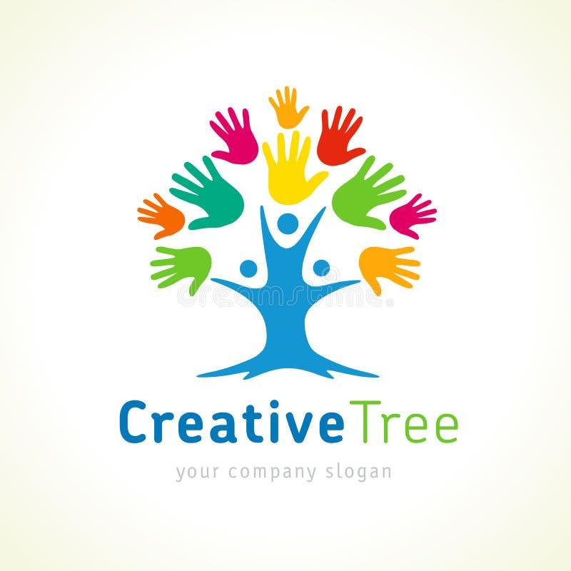 A árvore criativa colorida entrega o molde do logotipo ilustração do vetor