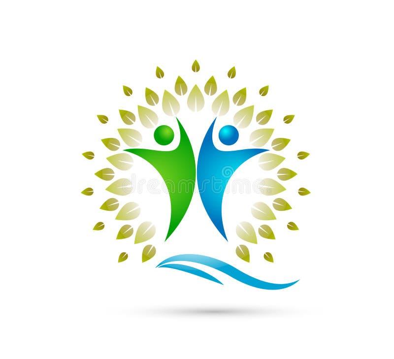 Árvore criativa de Team People Family com onda de água, logotipo feliz do conceito dos povos junto ilustração royalty free