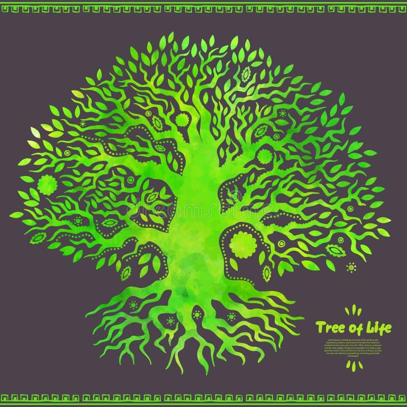 Árvore da aquarela original do vetor de vida étnica ilustração royalty free