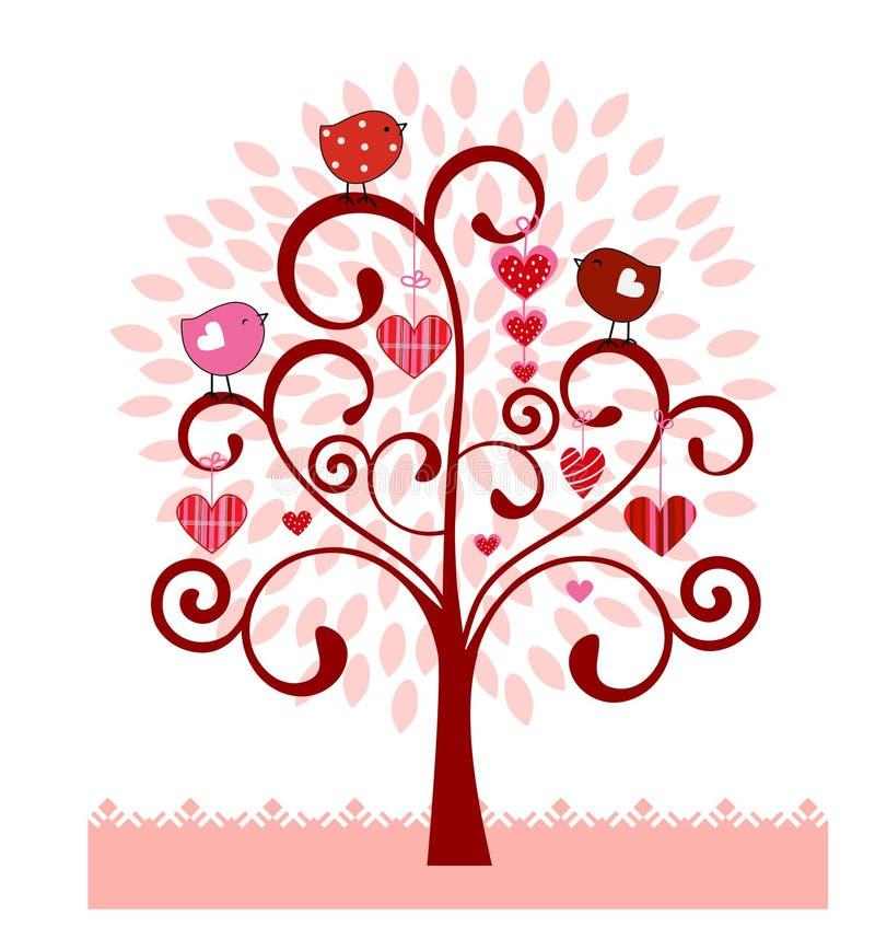 Árvore da bobina com corações dos pássaros das folhas ilustração stock