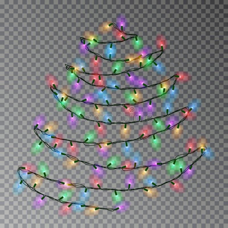 Árvore da cor do Natal da corda das luzes que pendura na parede Decoração transparente do efeito isolada em dar ilustração royalty free