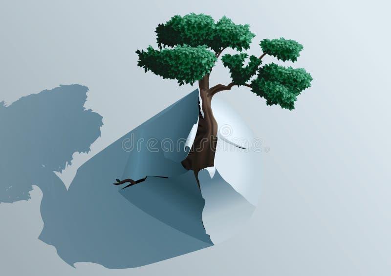 Árvore da descoberta através do papel ilustração royalty free