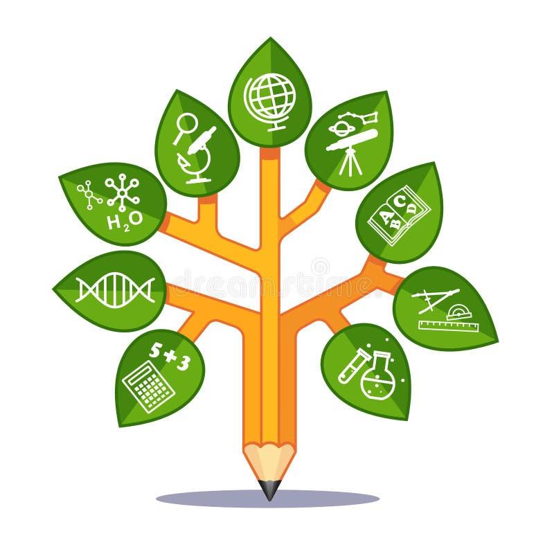 Árvore da educação das ciências ilustração stock