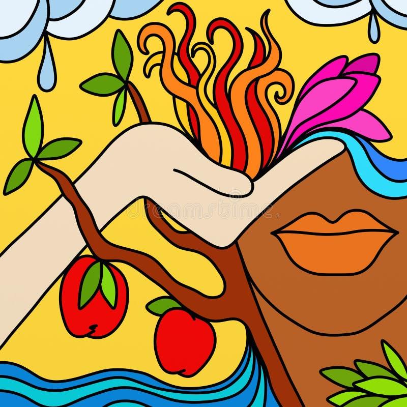 Árvore da face e de maçã ilustração do vetor