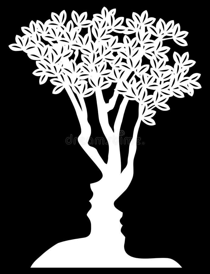 A árvore da ilusão ótica enfrenta o conceito ilustração do vetor