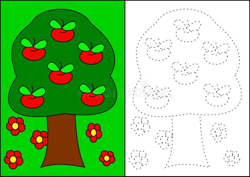 Árvore da livro-maçã da coloração ilustração stock