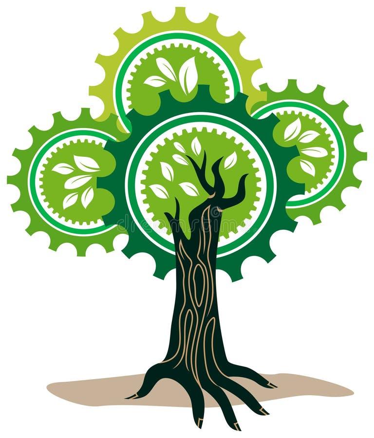 Árvore da mão com engrenagens ilustração royalty free