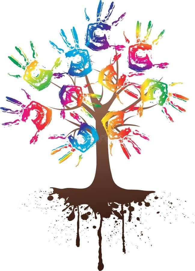 Árvore da mão com raiz ilustração royalty free